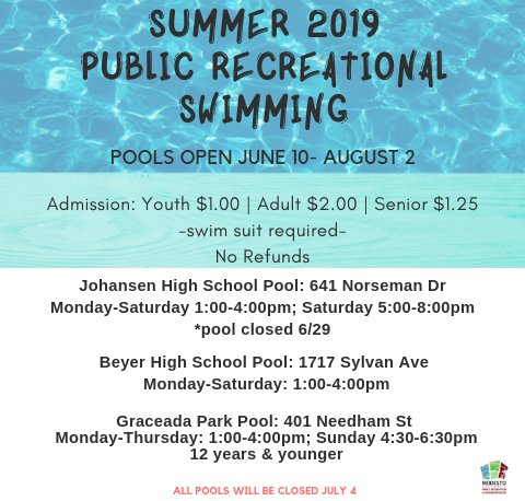 Summer 2019 Public Recreational Swim. June 10 through August 2. Admission is $1 for youth, $2 for adult, and $1.25 for seniors. Swim Suit Required. Johansen High School, Beyer High School, and Graceada Park Pool. All pools closed July 4.