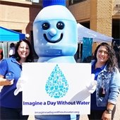 water bottle mascot holding imagine a day without water poster