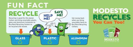 Modesto Recycles You Can Too - Fun Fact logo