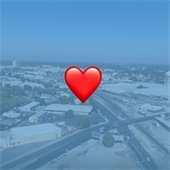 skyline image of modesto with heart icon