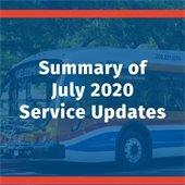 Summary of Modesto MAX July 2020 Service Updates