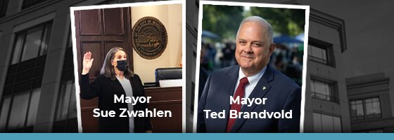 image of mayor sue swahlen and mayor ted brandvold