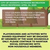 PLAYGROUNDS AND ACTIVITIES WITH SHARED EQUIPMENT MAY BE ENGAGED BY MEMBERS OF THE SAME HOUSEHOLD ONLY. PLEASE CONTINUE TO MAINTAIN SOCIAL DISTANCING WITH NON-HOUSEHOLD MEMBERS.