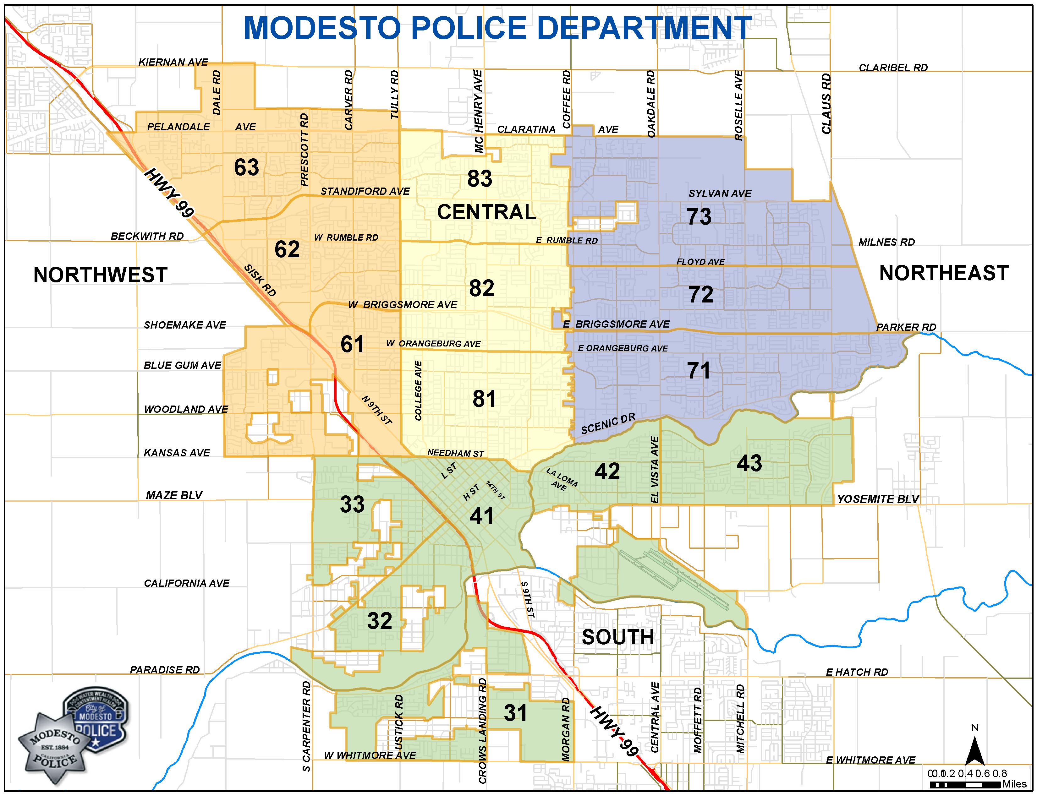Modesto Police District Map