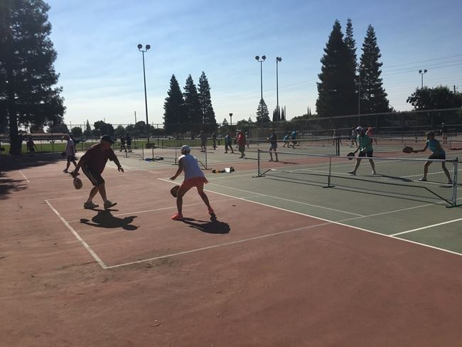 Pickle ball players on court