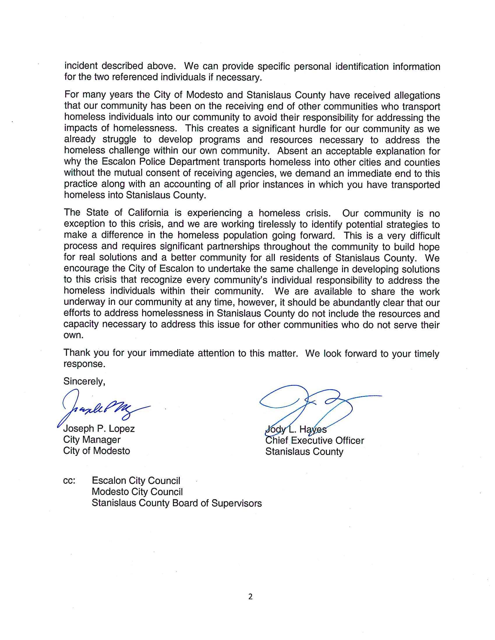 Modesto Stanislaus County Letter to Escalon Page 2