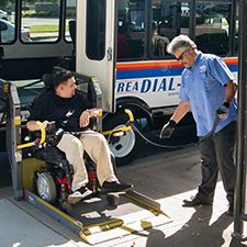 Modesto Area Dial-A-Ride Bus Passenger Boarding Using Lift Ramp