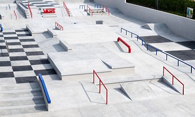 This concept art for a concrete skate plaza features rails, stairs, and ramps.