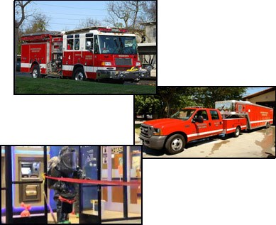Haz-Mat Collage with Fire Engine, pickup hauling a trailer, and a Haz-Mat suit.