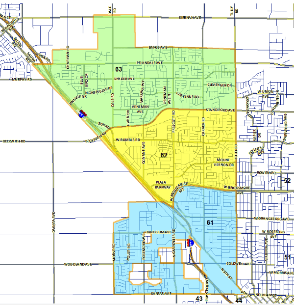 Map showing the beats and area outline for Modesto's northwest district.
