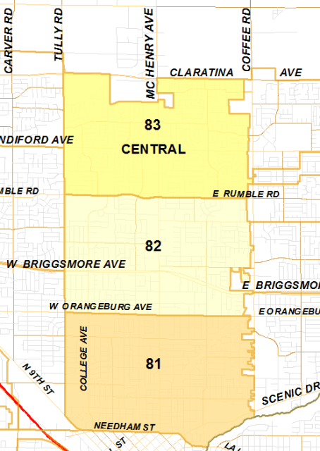 Map showing the beats and area outline for Modesto's central district.