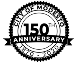 City of Modest 150th Birthday Logo