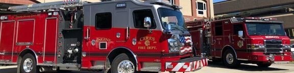 image of modesto fire and ceres fire trucks