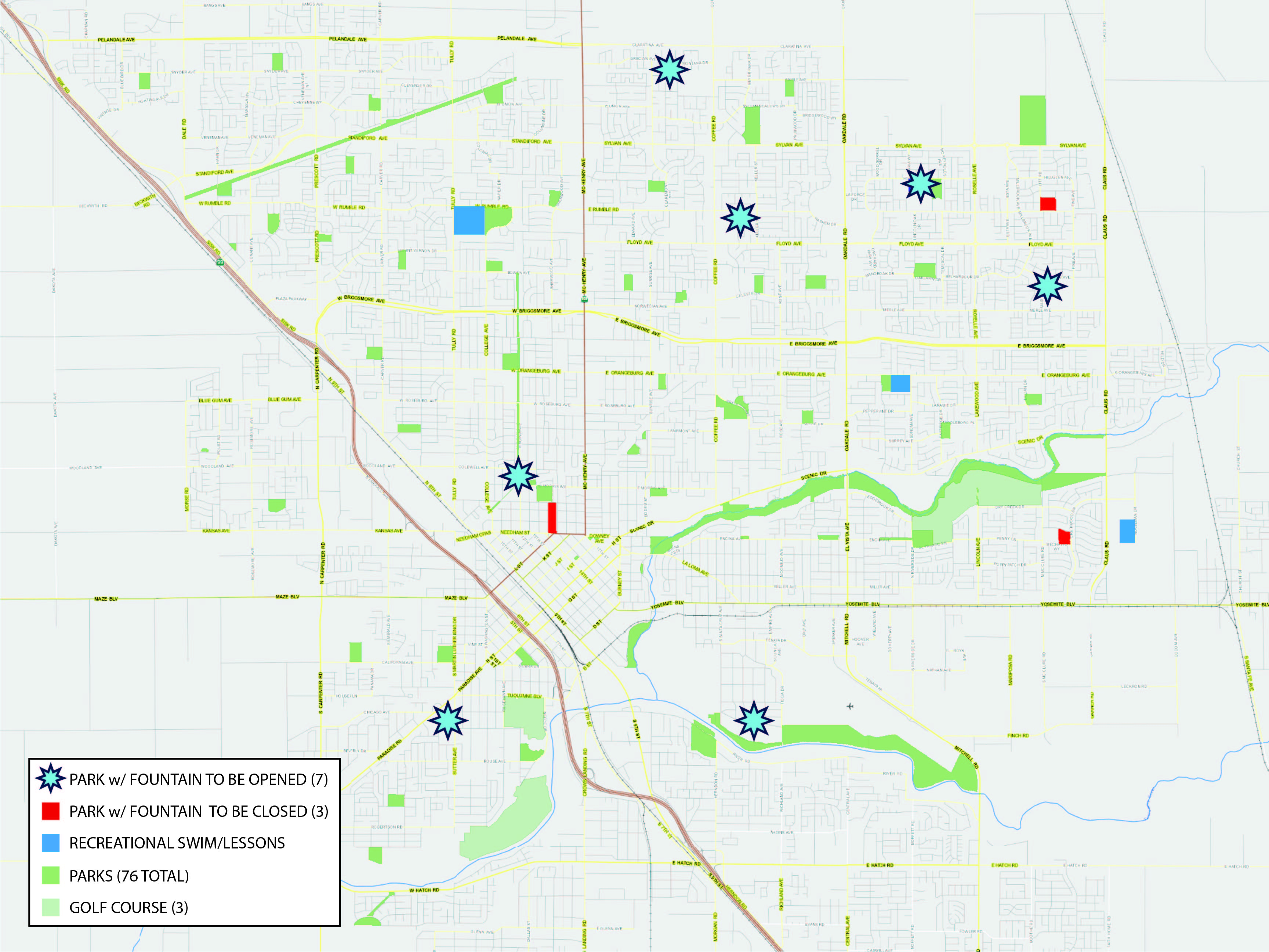 map of parks with water features. modesto ca