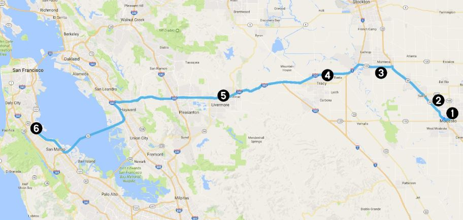 Central Valley Transporter Map to SFP